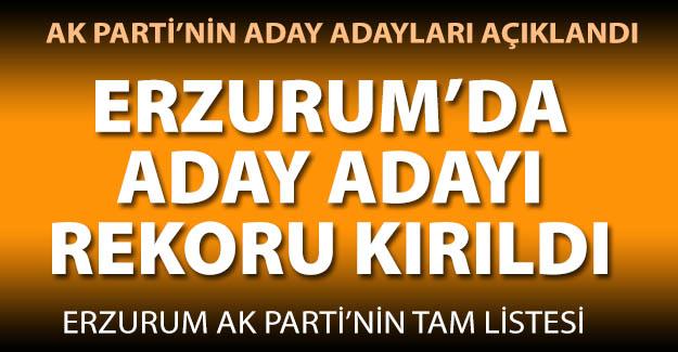 İşte AK Parti'nin Erzurum aday adayları
