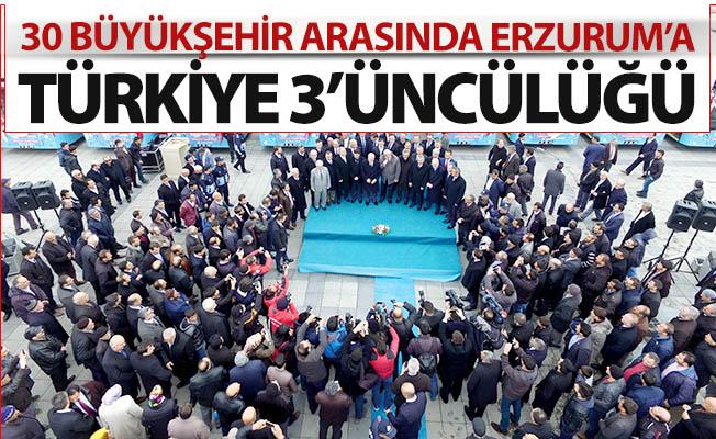 Erzurum Türkiye 3'üncüsü oldu