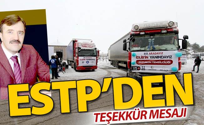 ESTP'den teşekkür mesajı