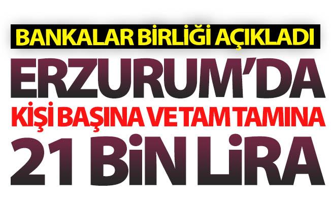 Erzurum'da kişi başına 21 bin lira...