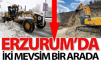 Erzurum'da iki mevsim bir arada!