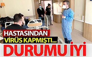 Hastalanan sağlık çalışanlarına moral ziyareti